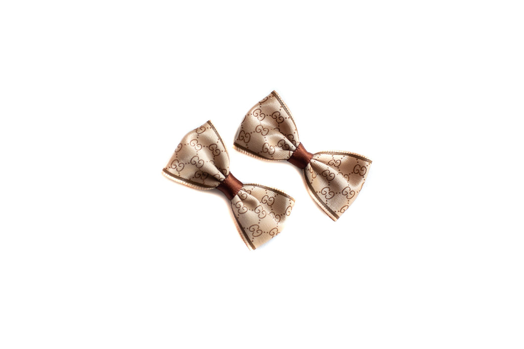Poochi Bows: Tan & Brown