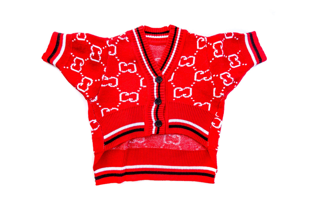 Poochi Logo Cardigan: Red