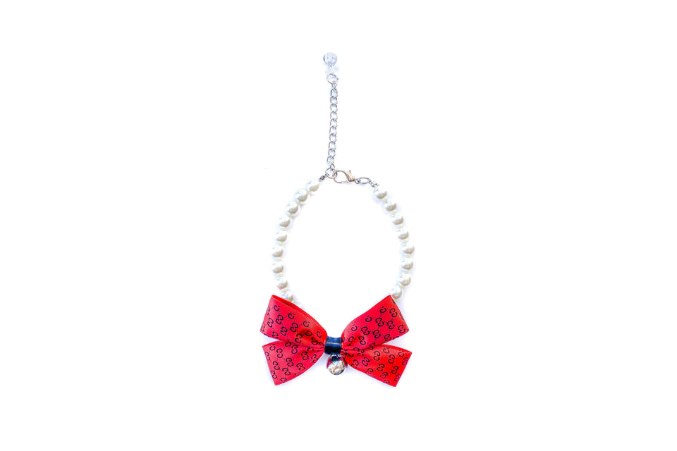 Poochi Pearl Necklace: Red