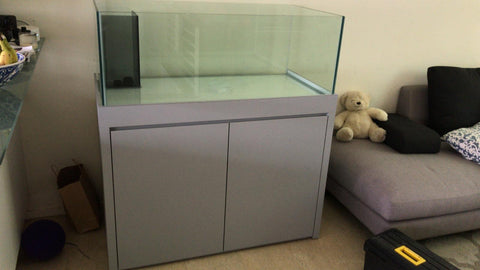 1200x600x450 RIMLESS GLASS TANK with Left Corner Overflow Box
