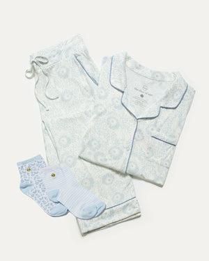 25% off!! Blue Floral Pajamas and Blue Sock Bundle