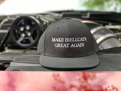 "Black ""MAKE HELLCATS GREAT AGAIN"" Snapback flat bill hat"