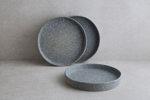 Grey Textured Breakfast Plate