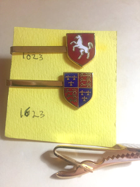Vintage enamel and brass tie clips (1023)