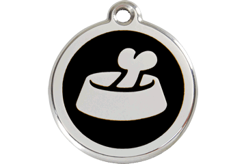 Red Dingo Enamel Pet ID Tag - Bone in Bowl
