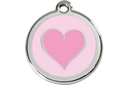 Red Dingo Enamel Pet ID Tag - 1HK - Heart Pink