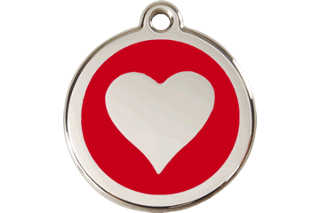 Red Dingo Enamel Pet ID Tag - Heart Red / Large - Paw Naturals