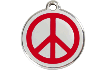 Red Dingo Enamel Pet ID Tag - Peace Sign