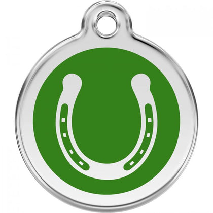 Red Dingo Enamel Pet ID Tag - Horseshoe Green / Large - Paw Naturals