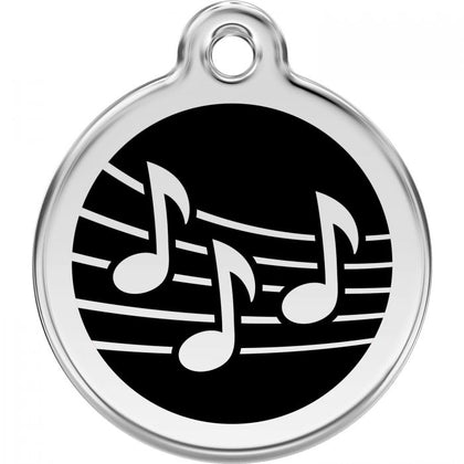 Red Dingo Enamel Pet ID Tag - Music Note Black / Large - Paw Naturals