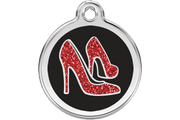 Red Dingo Stainless Steel with Glitter Pet ID Tag