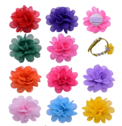 Sparky & Co Summer Couture Chiffon Flower Collar Embellishments (Assorted Collars) - Paw Naturals