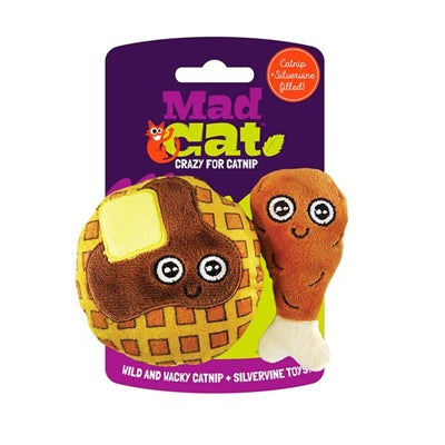 Mad Cat Chicken And Waffles Twin Pack W/Catnip & Silvervine Cat Toy