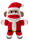 "Lulubelles 7.5"" Holiday Baby Sock Monkey Jolly Santa Holiday Plush Toy"