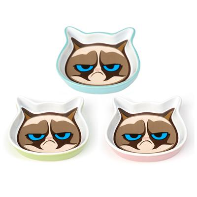 "PetRageous Designs! Mildly Amused Grumpy Cat® 5""Shallow Saucer Collection"