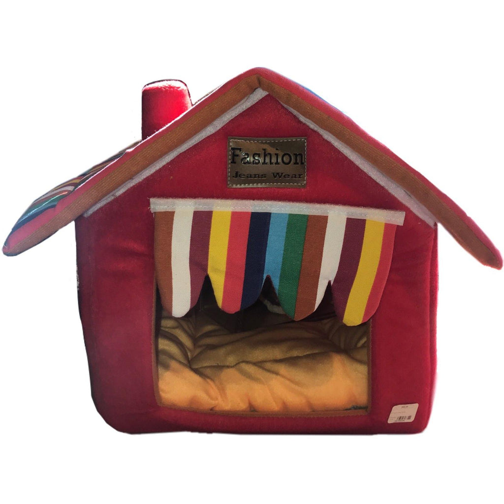 Softsided Pet House In Red With Striped Curtain