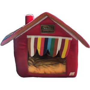 Soft-Sided Pet House in Red with Striped Curtain