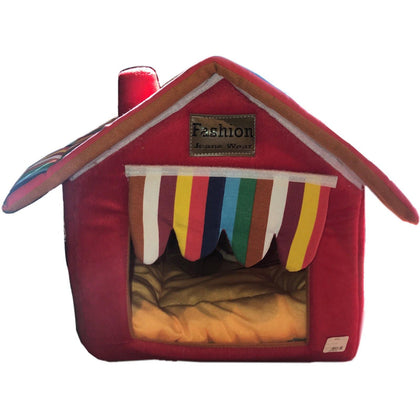 Softsided Pet House In Red With Striped Curtain - Paw Naturals