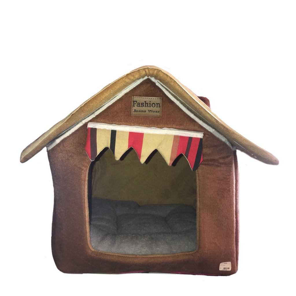 Softsided Pet House In Brown With Striped Curtain