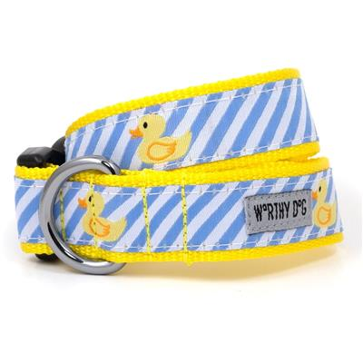 The Worthy Dog Lt Blue Stripe Rubber Duck Collar & Lead Collection - Paw Naturals