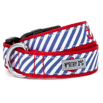 The Worthy Dog Navy Stripe Anchors Collar & Lead Collection - Paw Naturals