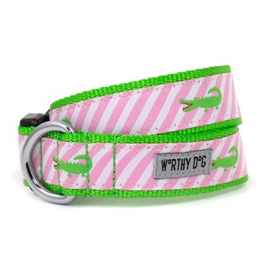 The Worthy Dog Pink Stripe Alligator Collar & Lead Collection