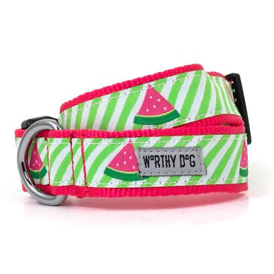 The Worthy Dog Green Stripe Watermelon Collar & Lead Collection - Paw Naturals