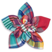 The Worthy Dog Madras Plaid Turquoise/Pink/Multi Bow Tie