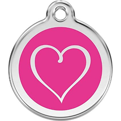 Red Dingo Enamel Pet ID Tag - Cartoon Heart Hot Pink / Large - Paw Naturals