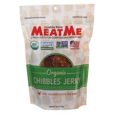 MeatMe Organic Chibbles Chicken Jerky 4oz - Paw Naturals