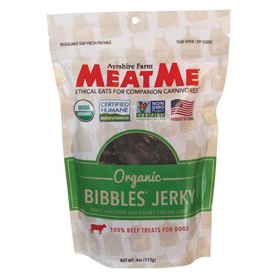 MeatMe Organic Bibbles Beef Jerky 4oz - Paw Naturals