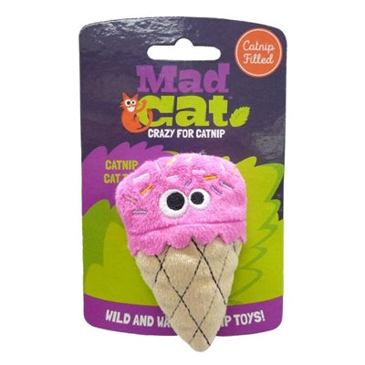Mad Cat Strawpurry Ice Cream W/Catnip & Silvervine Cat Toy - Paw Naturals