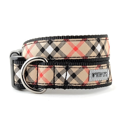 The Worthy Dog Bias Plaid Tan Collar & Lead Collection