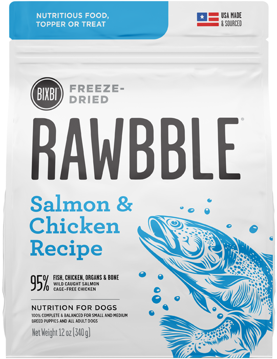 Bixbi Rawbble Raw Freeze-Dried Dog Food Salmon Chicken