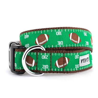 The Worthy Dog Football Field Collar & Lead Collection XS Dog Collar - Paw Naturals