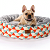 Sparky & Co Fleece-Lined Round Cuddle Bed In Bright Prints Orange Triangle - Paw Naturals
