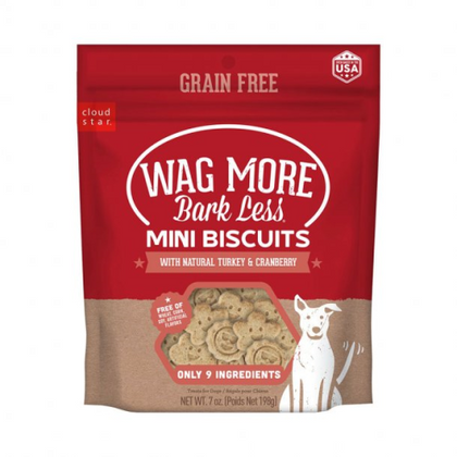 Cloud Star Wag More Bark Less Mini Biscuits 7oz Dog Treat - Paw Naturals