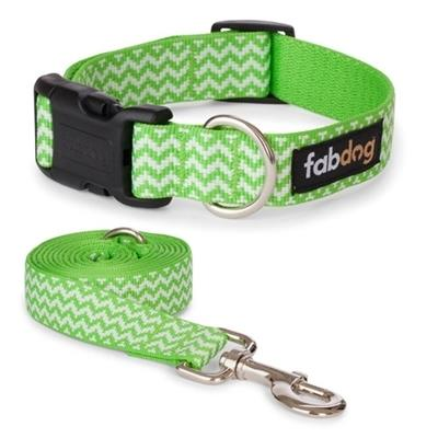 Fabdog Green Chevron Stripe Collars & Leads - Paw Naturals