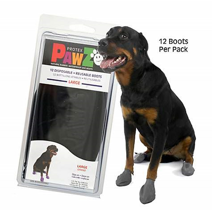 Pawz Black Rubber Dog Boots 12pk Small - Paw Naturals