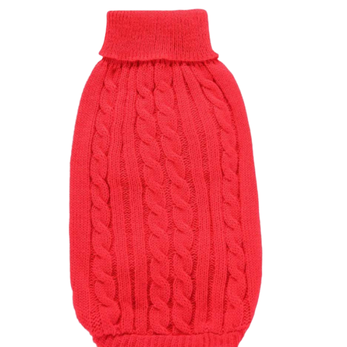 Sparky & Co Chunky Cableknit Turtleneck Red Sweater