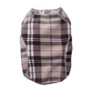 Cloak & Dawggie Pattern Fleece Sweater, Tan Plaid - Paw Naturals