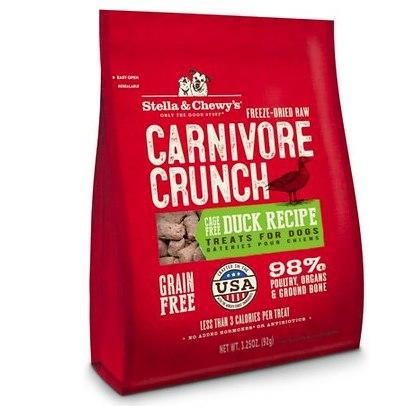Stella & Chewy's Carnivore Crunch Duck 3.25oz Freeze-Dried Dog Treats - Paw Naturals