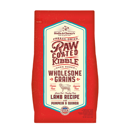 Stella & Chewy's Wholesome Grain Raw-Coated Baked Kibble Grass-Fed Lamb With Pumpkin & Quinoa Dry Dog Food - Paw Naturals