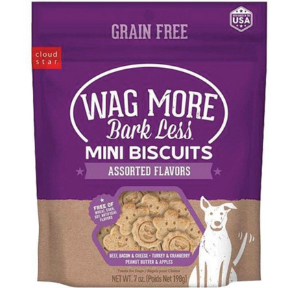 Cloud Star Wag More Bark Less Mini Biscuits 7oz Dog Treat Assorted Flavors - Paw Naturals