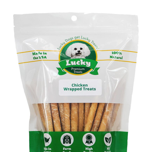Lucky Premium Treats Chicken Wrapped Rawhide Dog Treats