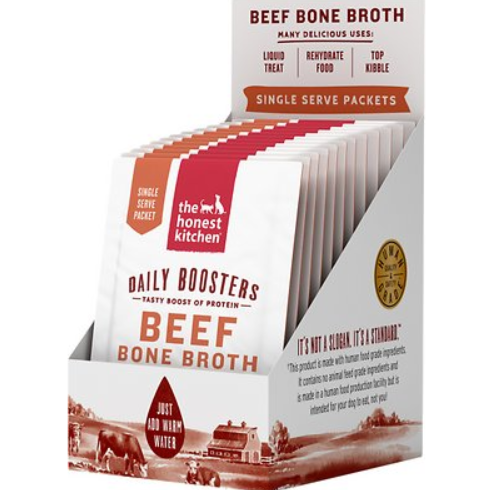 he Honest Kitchen Daily Boosters Instant Beef Bone Broth with Turmeric for Dogs 12oz
