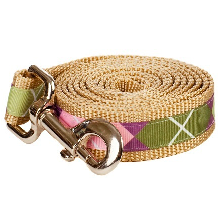 Paw Paws Sweet Pea Large Pea Soup On Tan Dog Leash