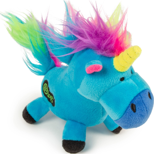 goDog Unicorn Plush Dog Toy with Chew Guard Technology