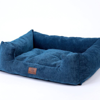 Sparky & Co Corduroy Lounge-Style Cuddle Bed Blue - Paw Naturals