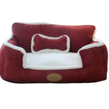 Sparky & Co Couch-Style Bed With Bolsters & Bone-Shaped Pillow Red - Paw Naturals